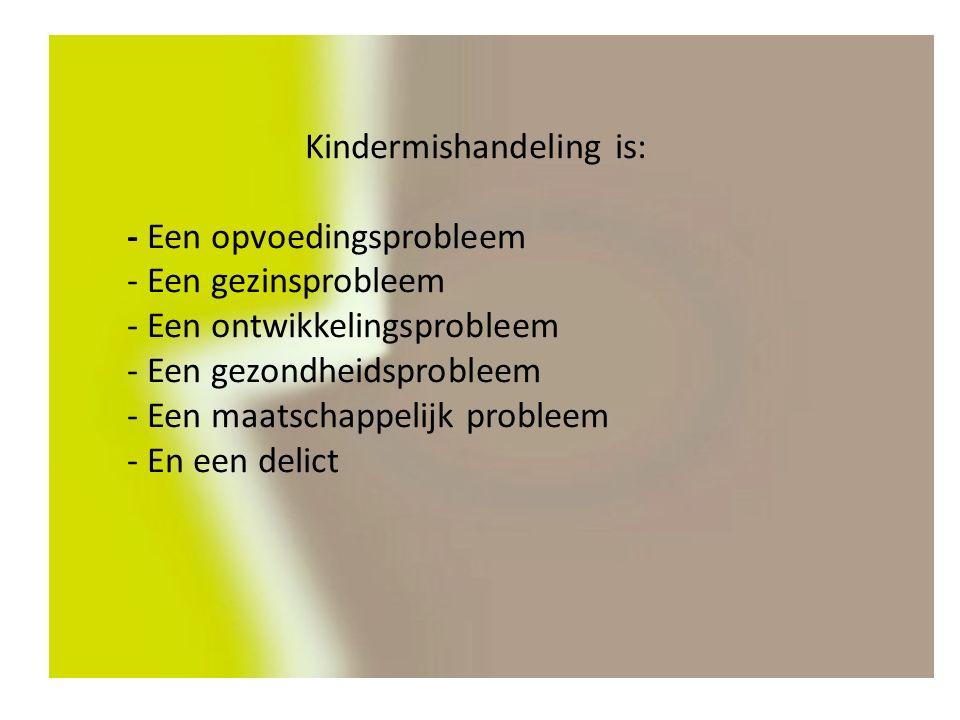 Kindermishandeling is: - Een opvoedingsprobleem - Een gezinsprobleem - Een ontwikkelingsprobleem - Een gezondheidsprobleem - Een maatschappelijk probleem - En een delict