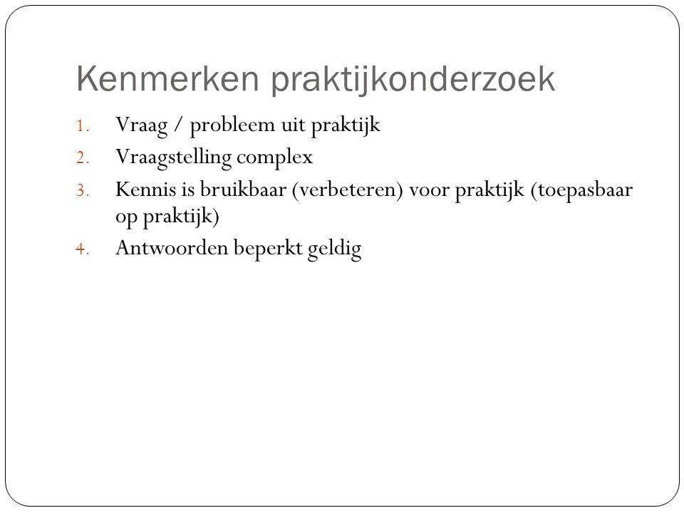 Kenmerken praktijkonderzoek 1. Vraag / probleem uit praktijk 2.
