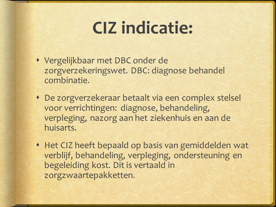 CIZ indicatie:  Vergelijkbaar met DBC onder de zorgverzekeringswet.