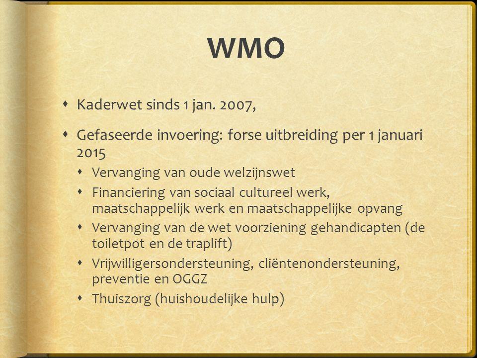 WMO  Kaderwet sinds 1 jan. 2007,  Gefaseerde invoering: forse uitbreiding per 1 januari 2015  Vervanging van oude welzijnswet  Financiering van so