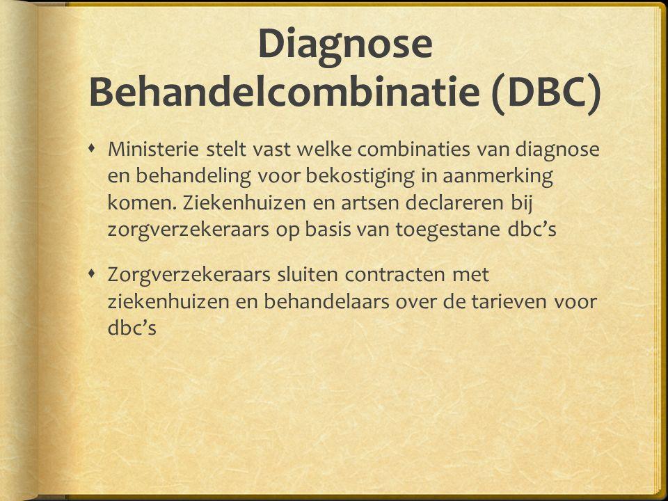 Diagnose Behandelcombinatie (DBC)  Ministerie stelt vast welke combinaties van diagnose en behandeling voor bekostiging in aanmerking komen.