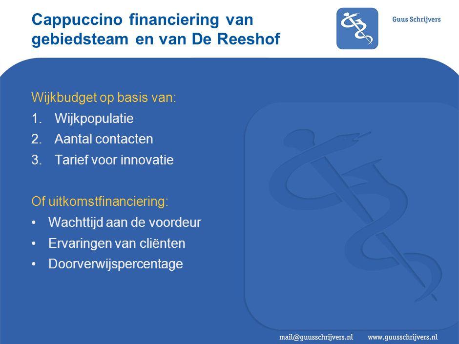 Cappuccino financiering van gebiedsteam en van De Reeshof Wijkbudget op basis van: 1.Wijkpopulatie 2.Aantal contacten 3.Tarief voor innovatie Of uitko