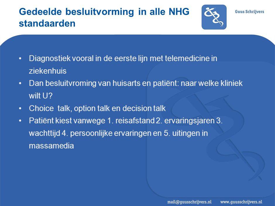 Gedeelde besluitvorming in alle NHG standaarden Diagnostiek vooral in de eerste lijn met telemedicine in ziekenhuis Dan besluitvroming van huisarts en patiënt: naar welke kliniek wilt U.