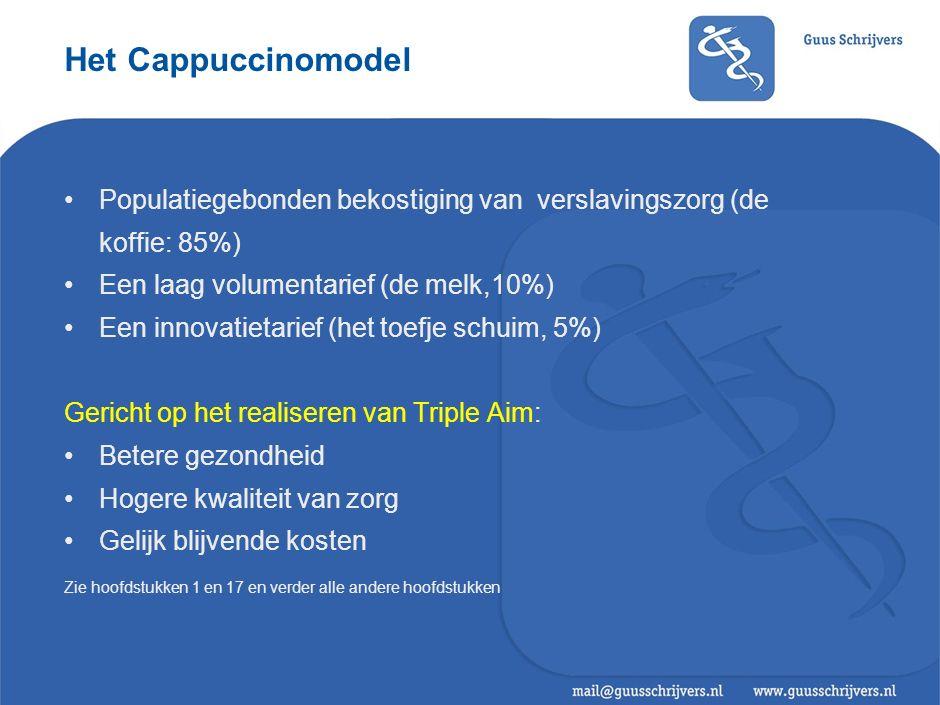 Het Cappuccinomodel Populatiegebonden bekostiging van verslavingszorg (de koffie: 85%) Een laag volumentarief (de melk,10%) Een innovatietarief (het t