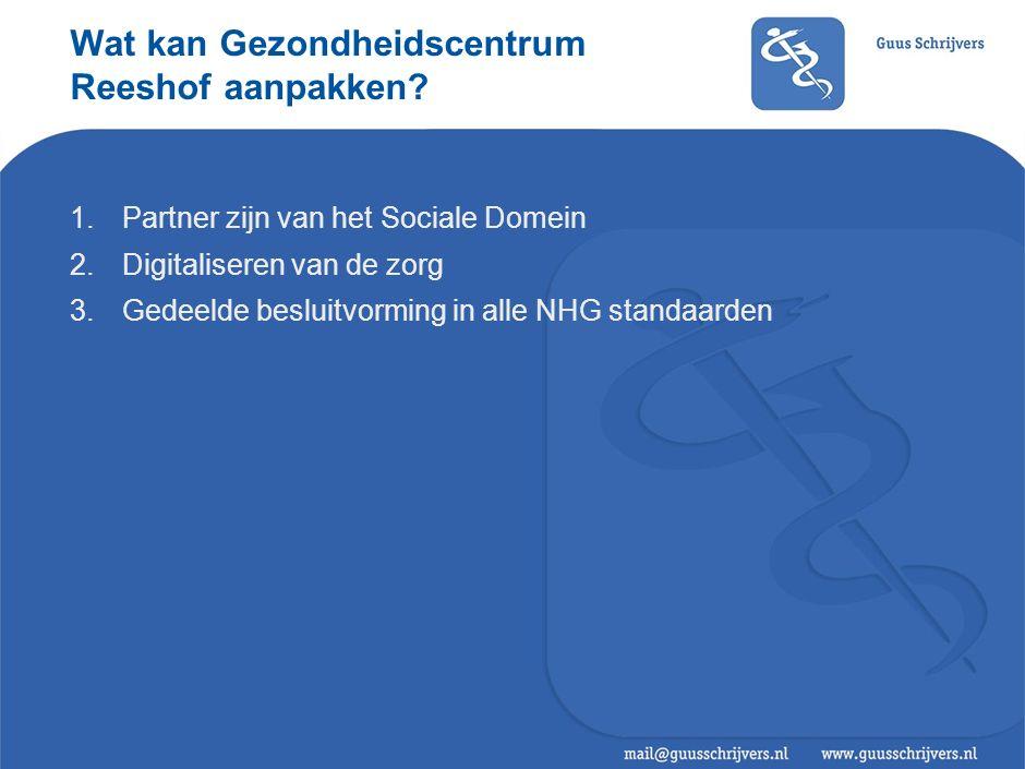 Wat kan Gezondheidscentrum Reeshof aanpakken? 1.Partner zijn van het Sociale Domein 2.Digitaliseren van de zorg 3.Gedeelde besluitvorming in alle NHG