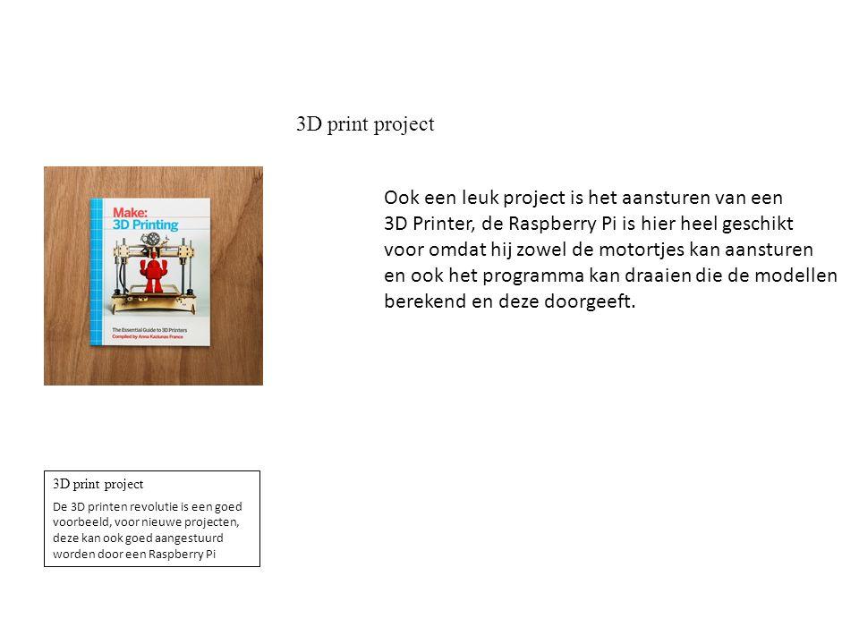 3D print project De 3D printen revolutie is een goed voorbeeld, voor nieuwe projecten, deze kan ook goed aangestuurd worden door een Raspberry Pi Ook een leuk project is het aansturen van een 3D Printer, de Raspberry Pi is hier heel geschikt voor omdat hij zowel de motortjes kan aansturen en ook het programma kan draaien die de modellen berekend en deze doorgeeft.