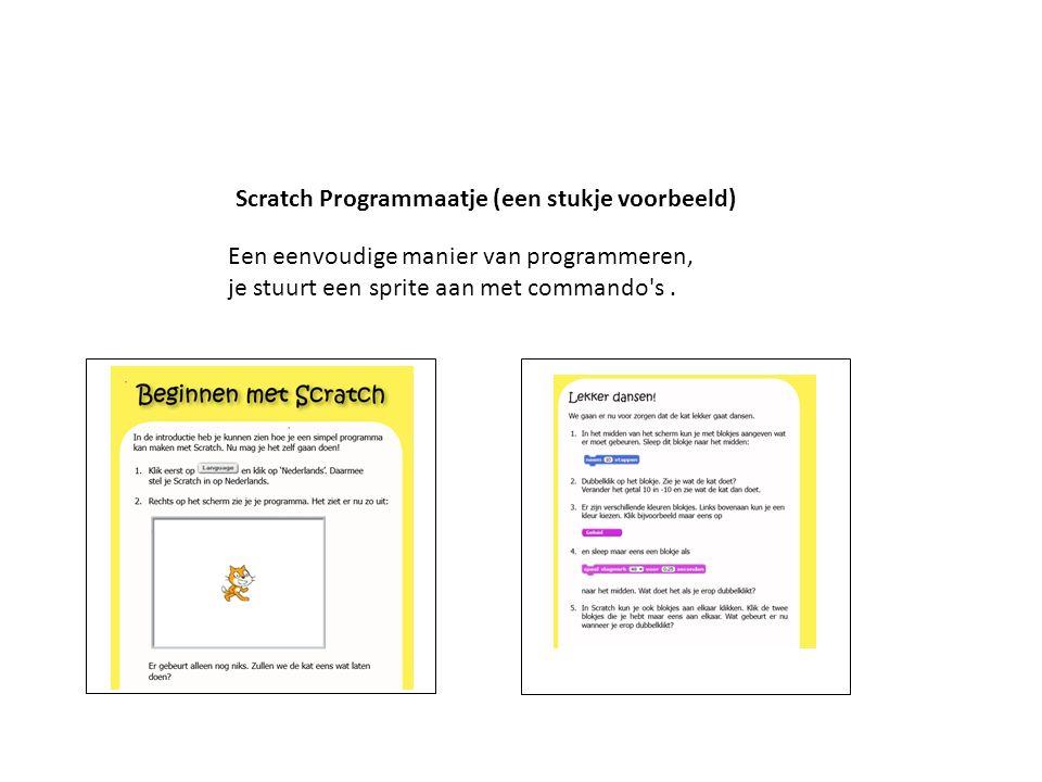 Scratch Programmaatje (een stukje voorbeeld) Een eenvoudige manier van programmeren, je stuurt een sprite aan met commando's.