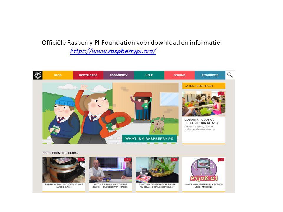 Op deze site kun je alle informatie en programma's vinden die relevant zijn voor de raspberry.