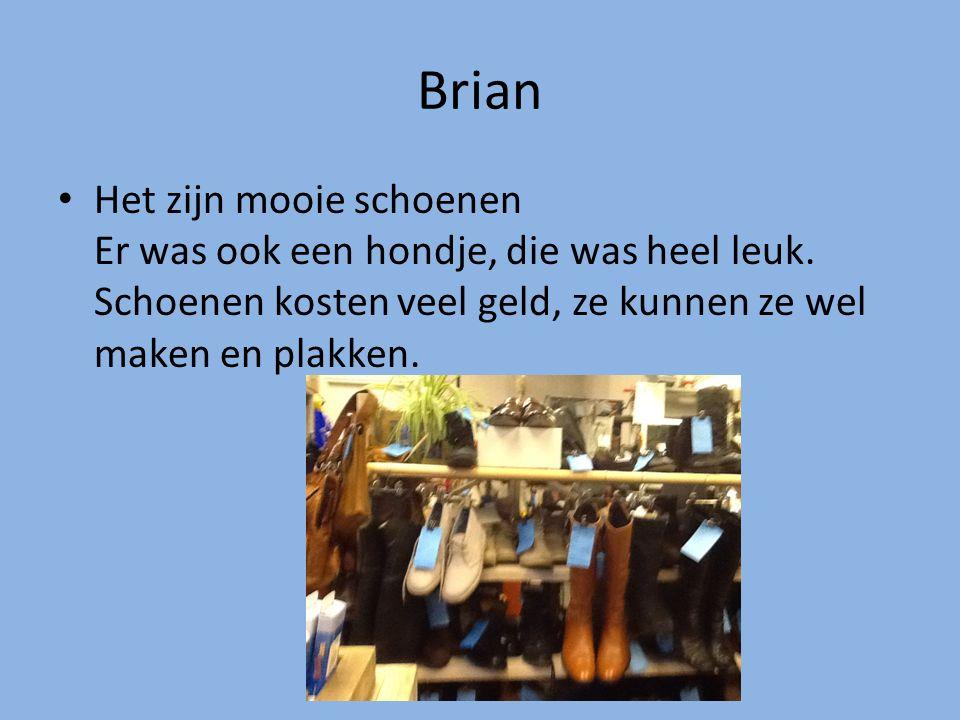 Brian Het zijn mooie schoenen Er was ook een hondje, die was heel leuk. Schoenen kosten veel geld, ze kunnen ze wel maken en plakken.
