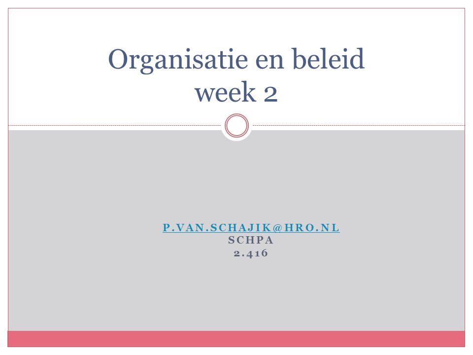 P.VAN.SCHAJIK@HRO.NL SCHPA 2.416 Organisatie en beleid week 2