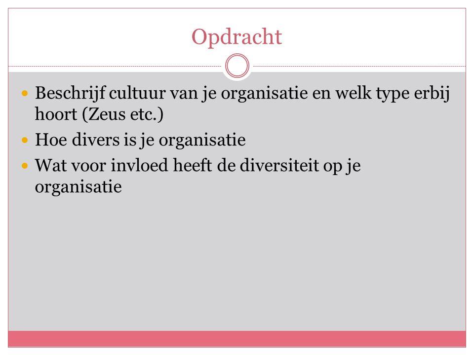 Opdracht Beschrijf cultuur van je organisatie en welk type erbij hoort (Zeus etc.) Hoe divers is je organisatie Wat voor invloed heeft de diversiteit op je organisatie