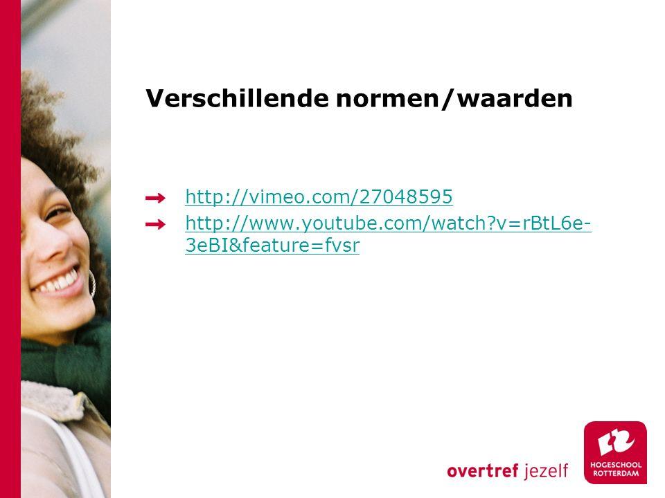 Verschillende normen/waarden http://vimeo.com/27048595 http://www.youtube.com/watch v=rBtL6e- 3eBI&feature=fvsr