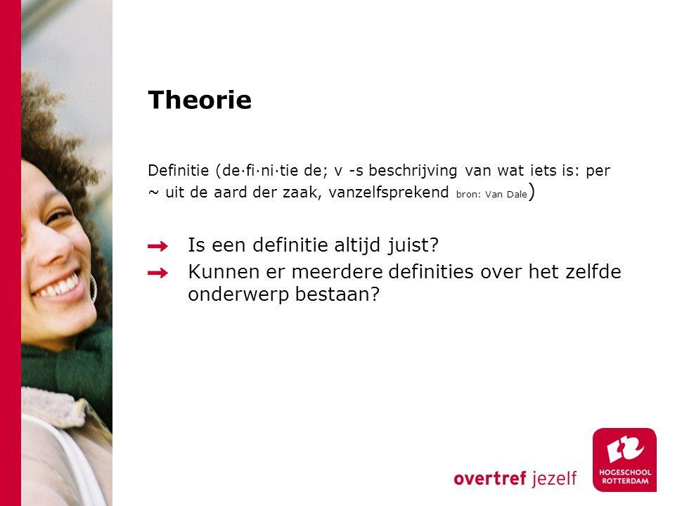 Theorie Definitie (de·fi·ni·tie de; v -s beschrijving van wat iets is: per ~ uit de aard der zaak, vanzelfsprekend bron: Van Dale ) Is een definitie altijd juist.