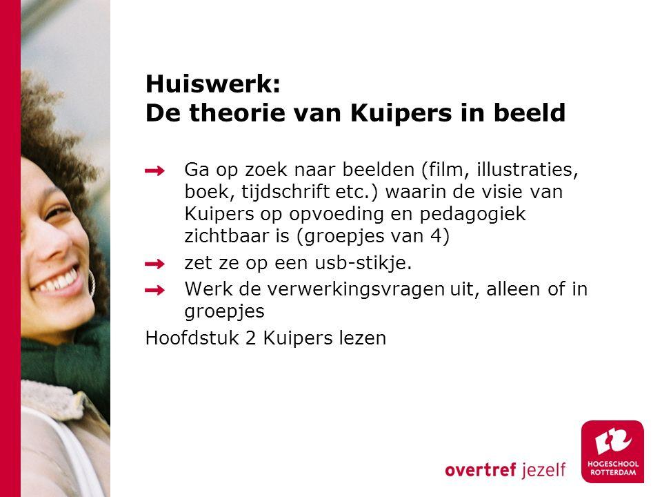 Huiswerk: De theorie van Kuipers in beeld Ga op zoek naar beelden (film, illustraties, boek, tijdschrift etc.) waarin de visie van Kuipers op opvoeding en pedagogiek zichtbaar is (groepjes van 4) zet ze op een usb-stikje.