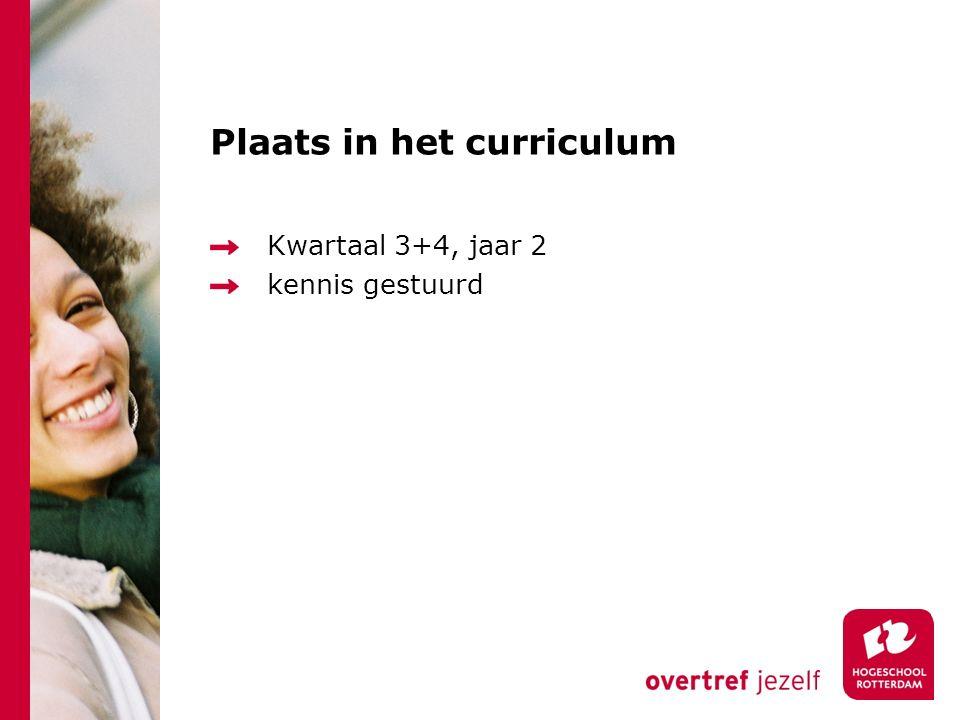 Plaats in het curriculum Kwartaal 3+4, jaar 2 kennis gestuurd
