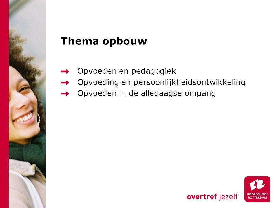 Thema opbouw Opvoeden en pedagogiek Opvoeding en persoonlijkheidsontwikkeling Opvoeden in de alledaagse omgang