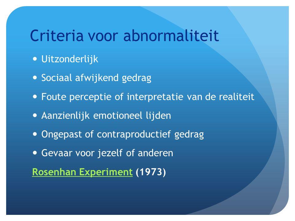 Uitzonderlijk Sociaal afwijkend gedrag Foute perceptie of interpretatie van de realiteit Aanzienlijk emotioneel lijden Ongepast of contraproductief gedrag Gevaar voor jezelf of anderen Rosenhan ExperimentRosenhan Experiment (1973)