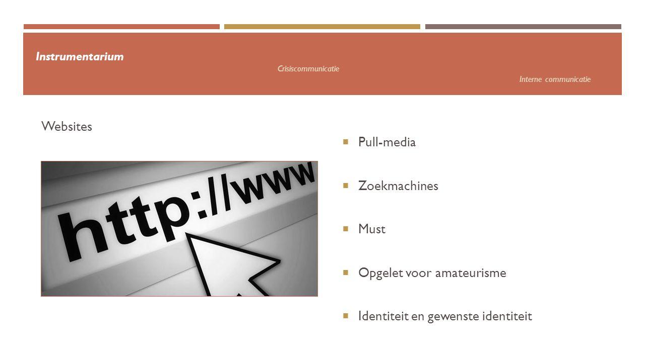 Instrumentarium Crisiscommunicatie Interne communicatie  Pull-media  Zoekmachines  Must  Opgelet voor amateurisme  Identiteit en gewenste identit