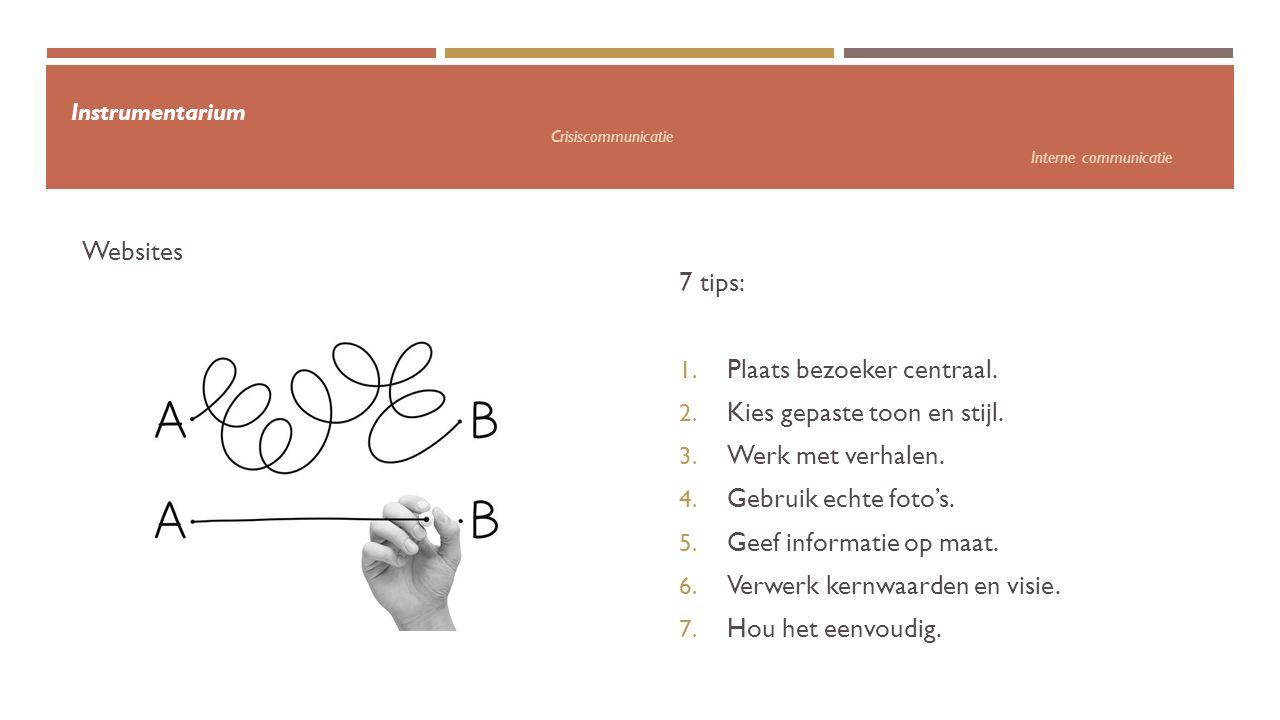 Instrumentarium Crisiscommunicatie Interne communicatie 7 tips: 1.