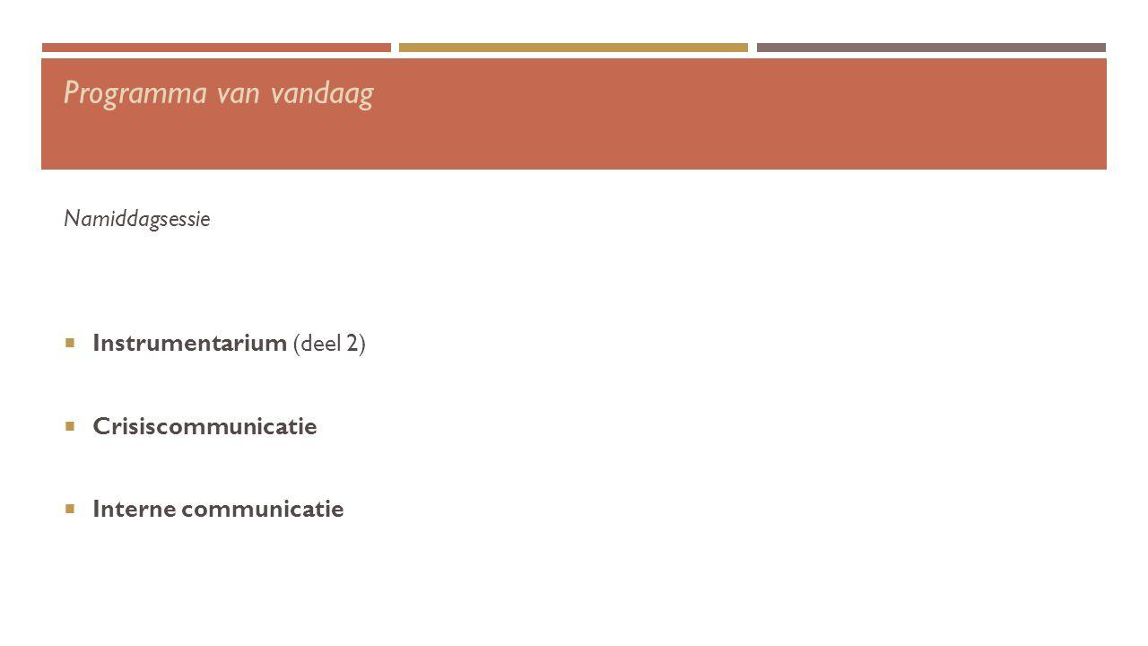 Programma van vandaag Namiddagsessie  Instrumentarium (deel 2)  Crisiscommunicatie  Interne communicatie