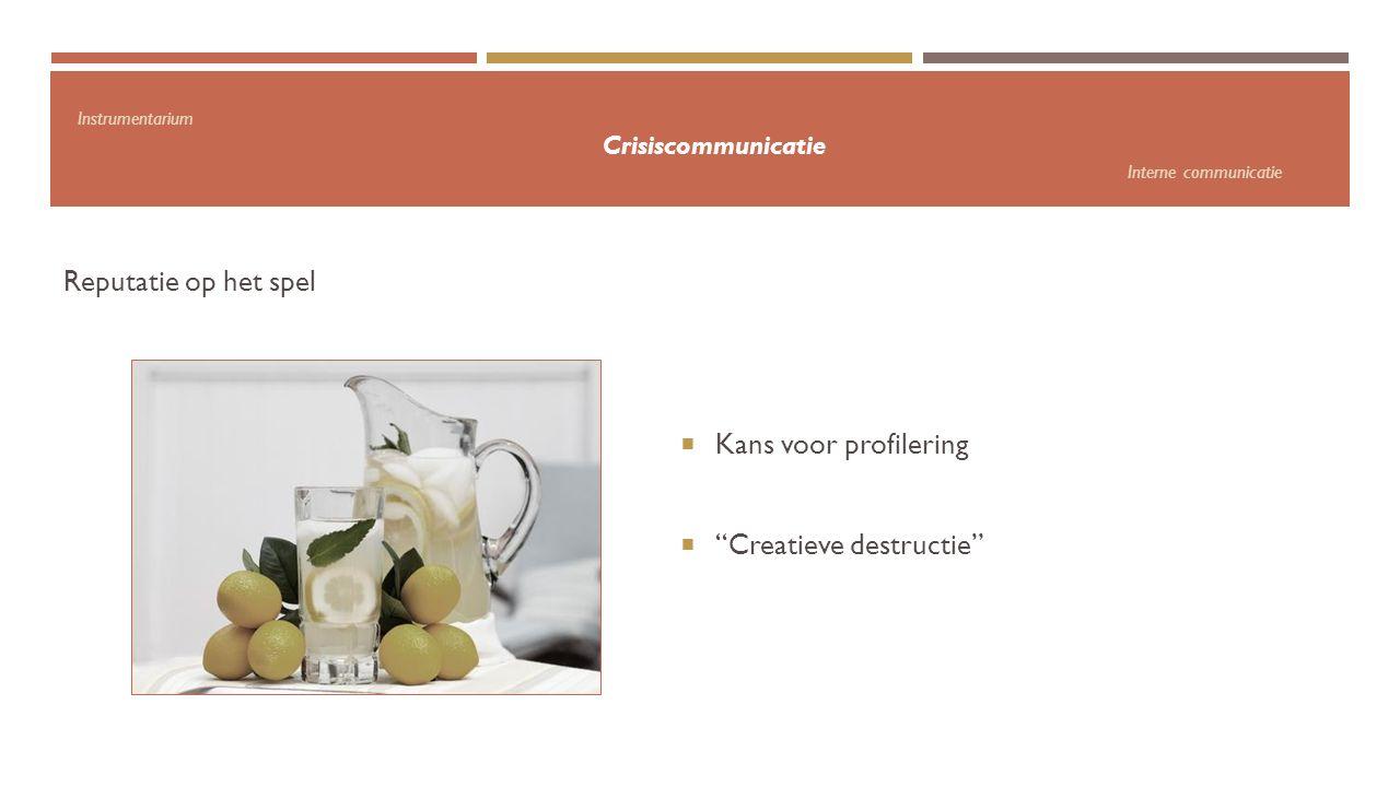 """Instrumentarium Crisiscommunicatie Interne communicatie Reputatie op het spel  Kans voor profilering  """"Creatieve destructie"""""""