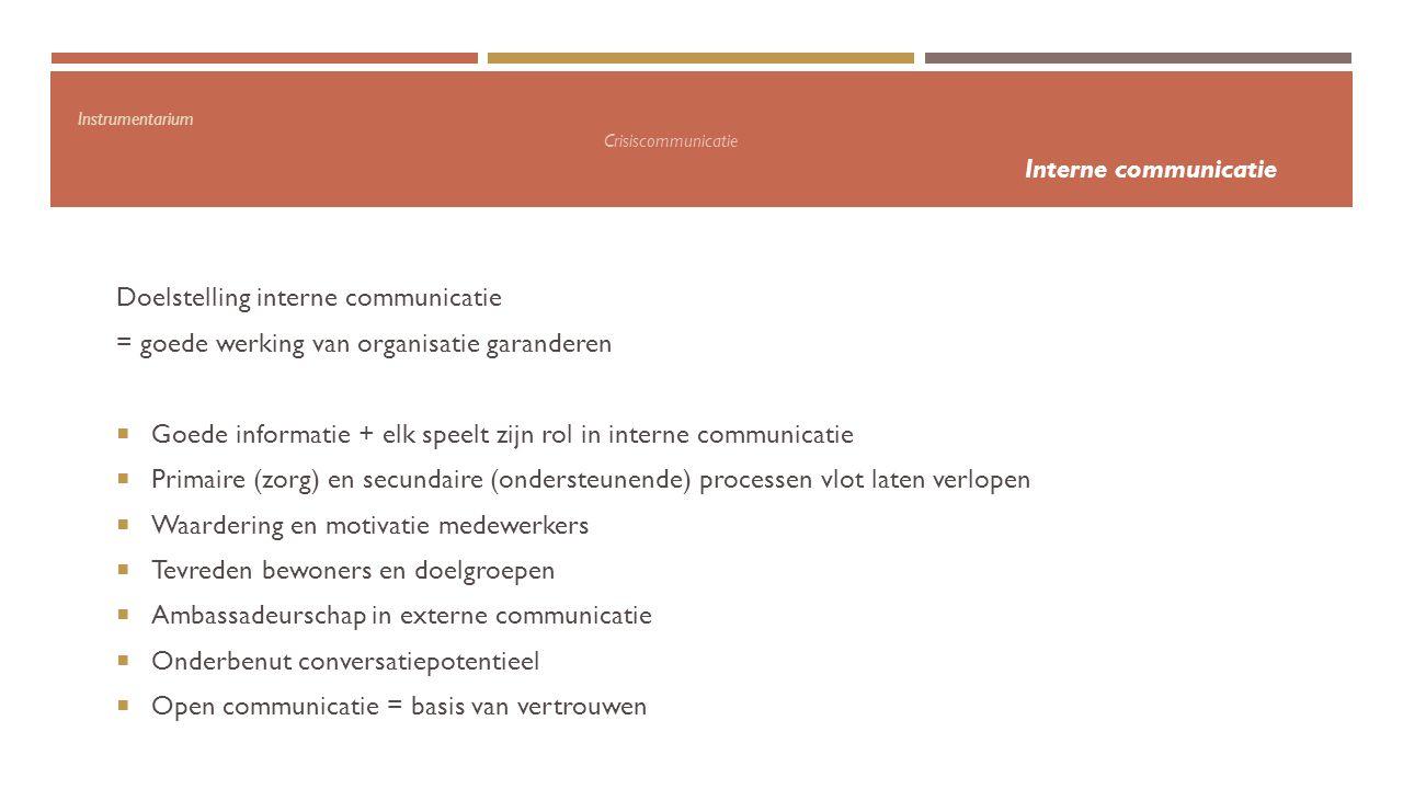 Instrumentarium Crisiscommunicatie Interne communicatie Doelstelling interne communicatie = goede werking van organisatie garanderen  Goede informati