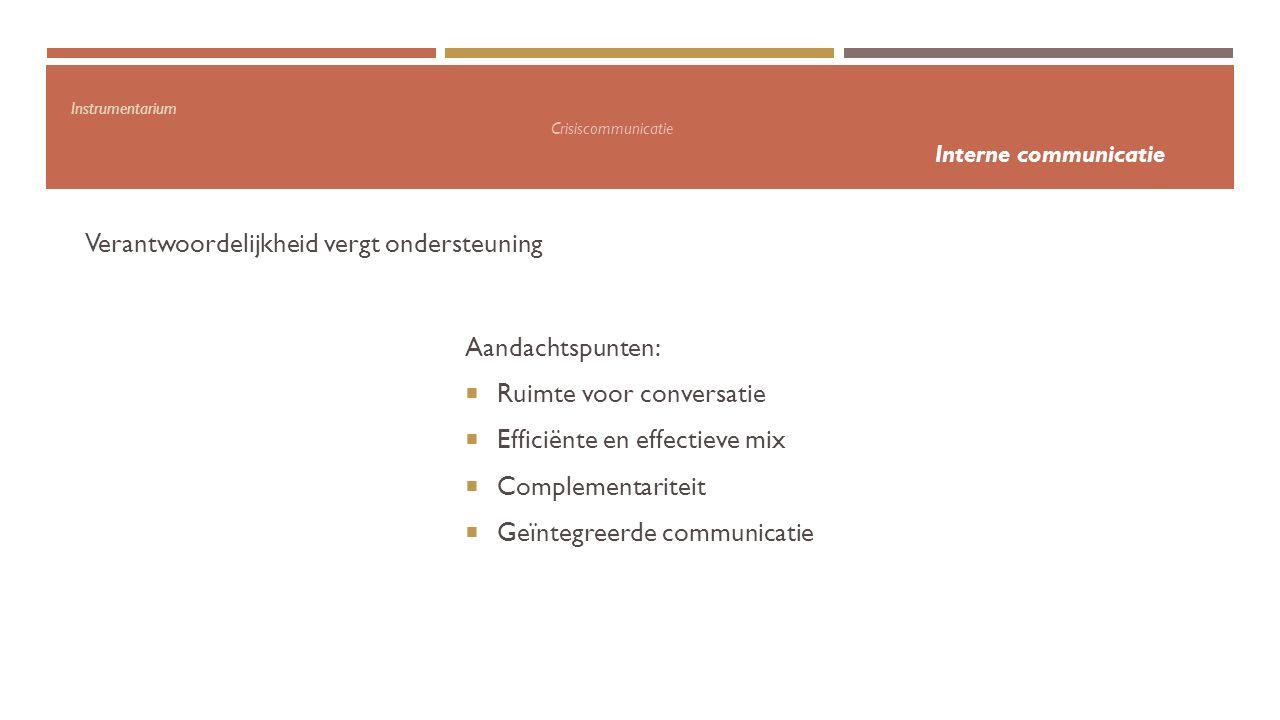 Instrumentarium Crisiscommunicatie Interne communicatie Verantwoordelijkheid vergt ondersteuning Aandachtspunten:  Ruimte voor conversatie  Efficiën