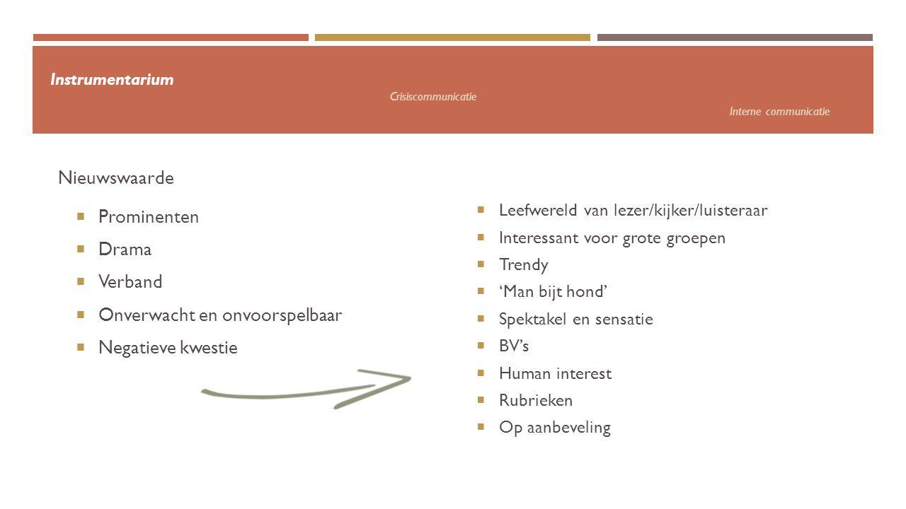 Instrumentarium Crisiscommunicatie Interne communicatie  Prominenten  Drama  Verband  Onverwacht en onvoorspelbaar  Negatieve kwestie Nieuwswaard