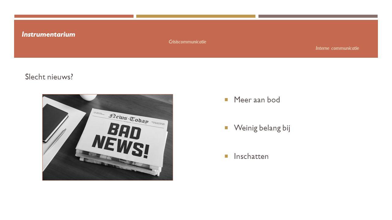 Instrumentarium Crisiscommunicatie Interne communicatie  Meer aan bod  Weinig belang bij  Inschatten Slecht nieuws?