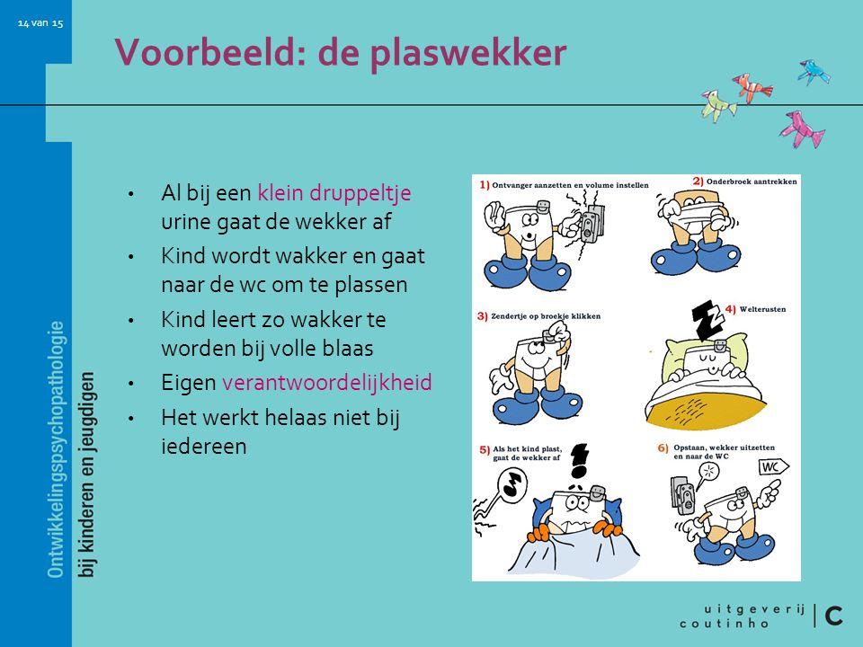 14 van 15 Voorbeeld: de plaswekker Al bij een klein druppeltje urine gaat de wekker af Kind wordt wakker en gaat naar de wc om te plassen Kind leert z