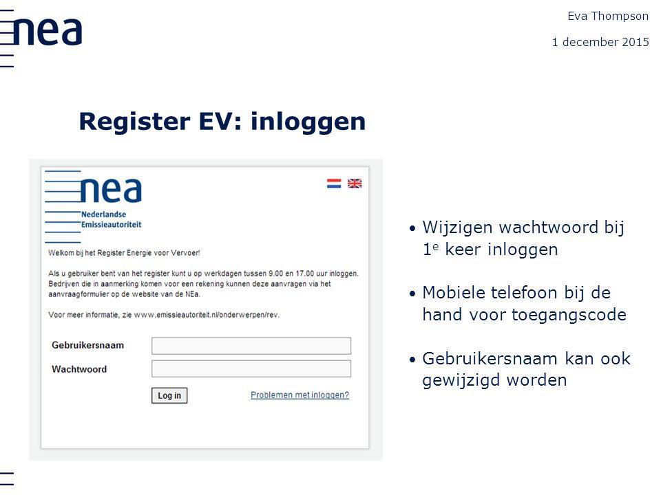 Register EV: inloggen Wijzigen wachtwoord bij 1 e keer inloggen Mobiele telefoon bij de hand voor toegangscode Gebruikersnaam kan ook gewijzigd worden Eva Thompson 1 december 2015