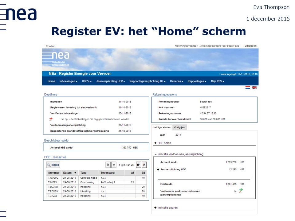 "Register EV: het ""Home"" scherm Eva Thompson 1 december 2015"