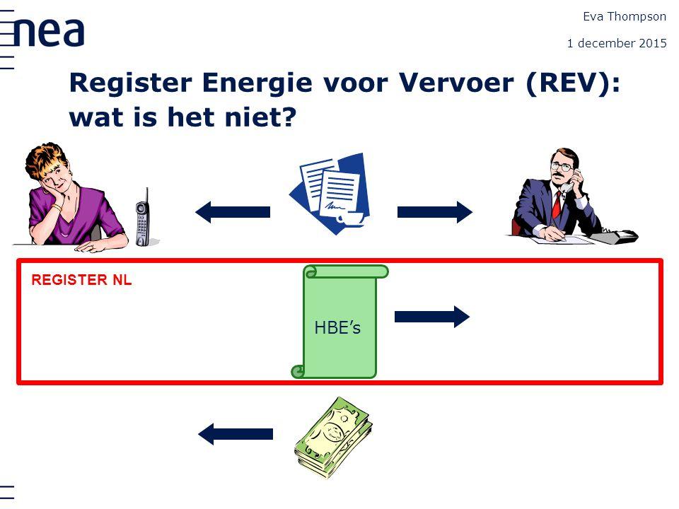 Eva Thompson 1 december 2015 Handel HBE's REGISTER NL Register Energie voor Vervoer (REV): wat is het niet