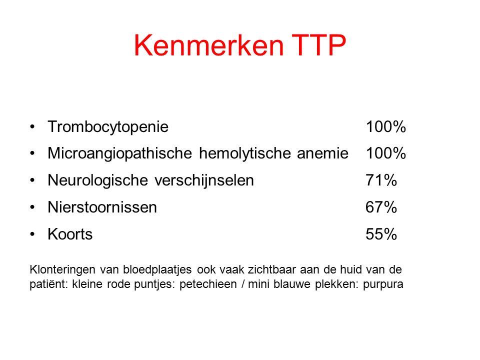Kenmerken TTP Trombocytopenie100% Microangiopathische hemolytische anemie100% Neurologische verschijnselen71% Nierstoornissen67% Koorts 55% Klontering