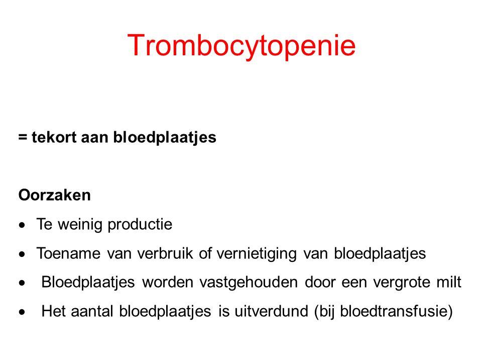 Trombocytopenie = tekort aan bloedplaatjes Oorzaken  Te weinig productie  Toename van verbruik of vernietiging van bloedplaatjes  Bloedplaatjes wor