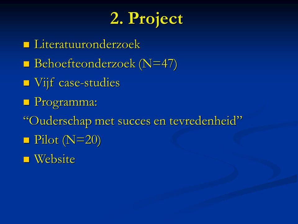 2. Project Literatuuronderzoek Literatuuronderzoek Behoefteonderzoek (N=47) Behoefteonderzoek (N=47) Vijf case-studies Vijf case-studies Programma: Pr