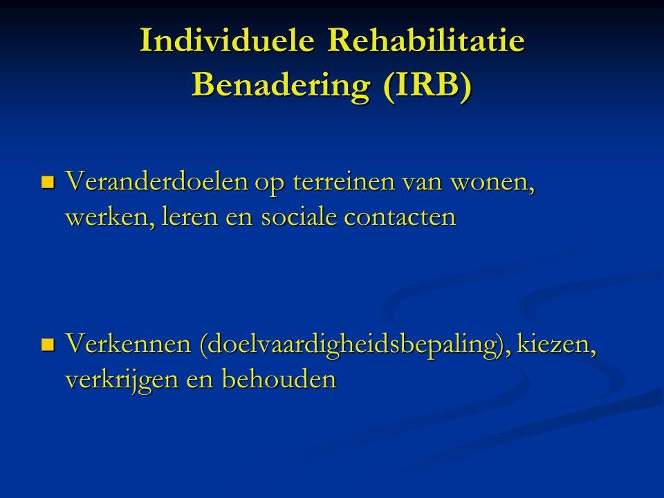 Individuele Rehabilitatie Benadering (IRB) Veranderdoelen op terreinen van wonen, werken, leren en sociale contacten Veranderdoelen op terreinen van wonen, werken, leren en sociale contacten Verkennen (doelvaardigheidsbepaling), kiezen, verkrijgen en behouden Verkennen (doelvaardigheidsbepaling), kiezen, verkrijgen en behouden