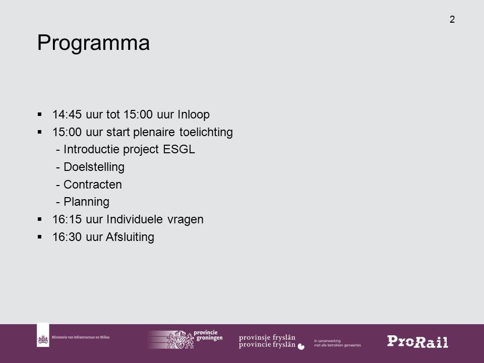 2 Programma  14:45 uur tot 15:00 uur Inloop  15:00 uur start plenaire toelichting - Introductie project ESGL - Doelstelling - Contracten - Planning  16:15 uur Individuele vragen  16:30 uur Afsluiting