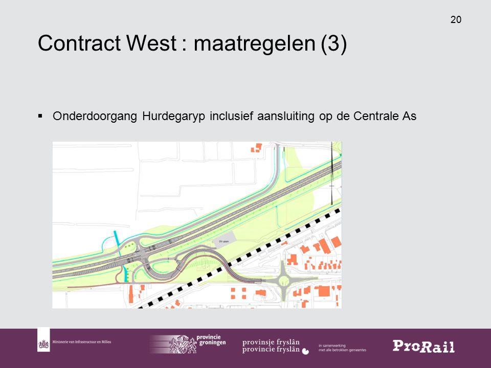 20 Contract West : maatregelen (3)  Onderdoorgang Hurdegaryp inclusief aansluiting op de Centrale As