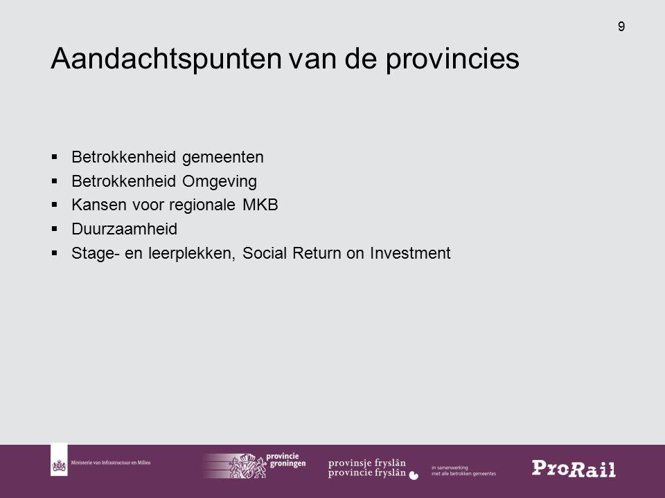 9 Aandachtspunten van de provincies  Betrokkenheid gemeenten  Betrokkenheid Omgeving  Kansen voor regionale MKB  Duurzaamheid  Stage- en leerplekken, Social Return on Investment