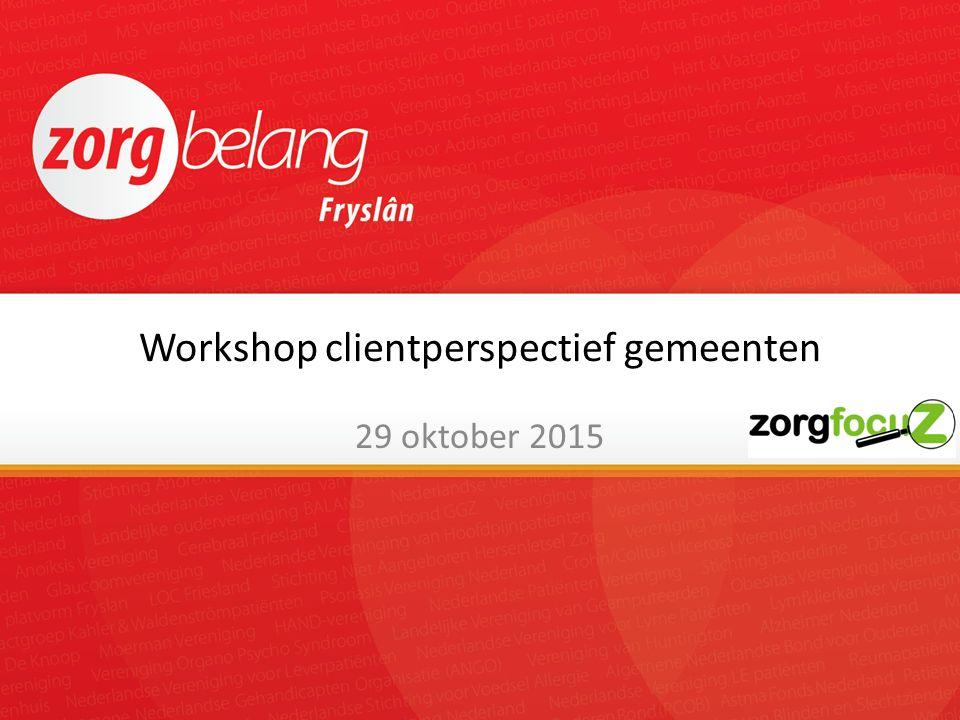 Workshop clientperspectief gemeenten 29 oktober 2015