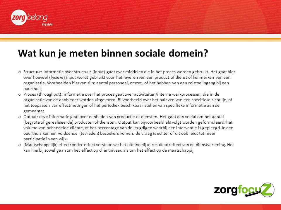 Wat kun je meten binnen sociale domein.