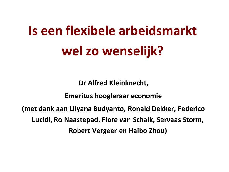 Is een flexibele arbeidsmarkt wel zo wenselijk? Dr Alfred Kleinknecht, Emeritus hoogleraar economie (met dank aan Lilyana Budyanto, Ronald Dekker, Fed
