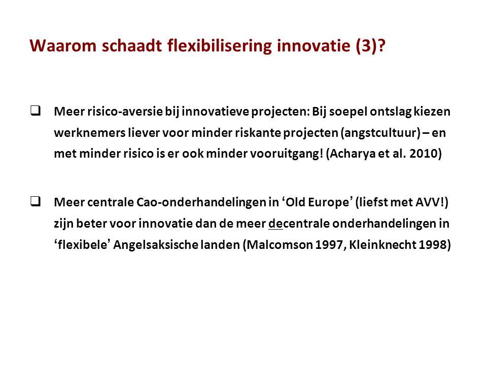 Waarom schaadt flexibilisering innovatie (3)?  Meer risico-aversie bij innovatieve projecten: Bij soepel ontslag kiezen werknemers liever voor minder