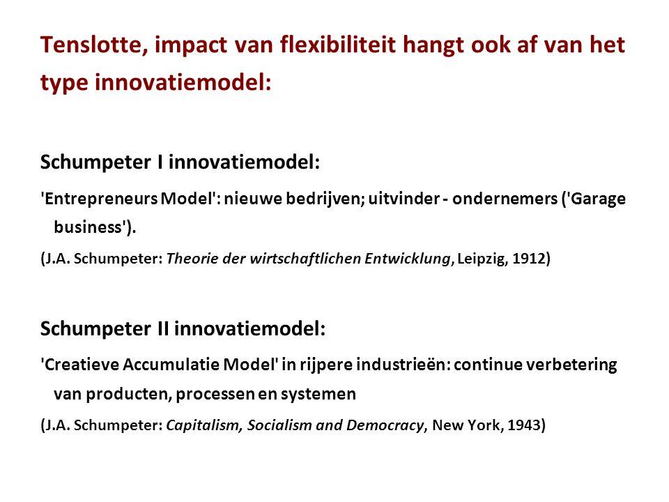 Tenslotte, impact van flexibiliteit hangt ook af van het type innovatiemodel: Schumpeter I innovatiemodel: Entrepreneurs Model : nieuwe bedrijven; uitvinder - ondernemers ( Garage business ).