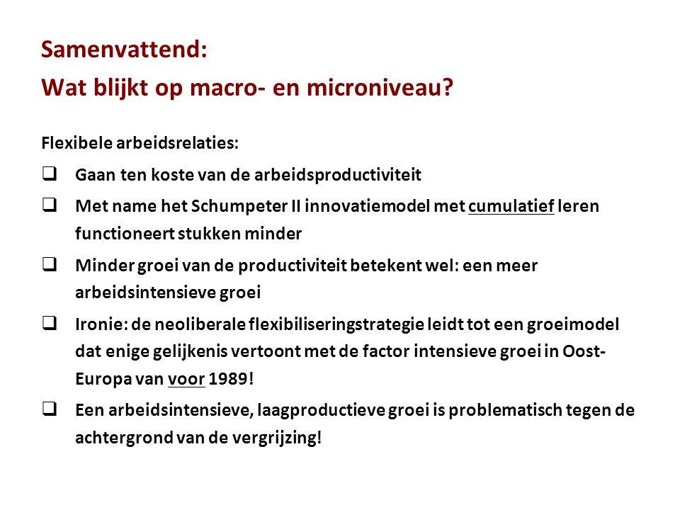 Samenvattend: Wat blijkt op macro- en microniveau? Flexibele arbeidsrelaties:  Gaan ten koste van de arbeidsproductiviteit  Met name het Schumpeter