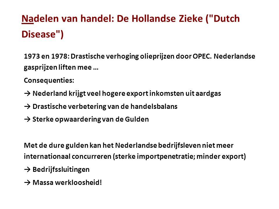 Nadelen van handel: De Hollandse Zieke ( Dutch Disease ) 1973 en 1978: Drastische verhoging olieprijzen door OPEC.