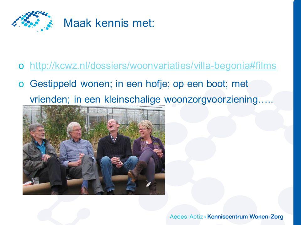 Maak kennis met: ohttp://kcwz.nl/dossiers/woonvariaties/villa-begonia#filmshttp://kcwz.nl/dossiers/woonvariaties/villa-begonia#films oGestippeld wonen; in een hofje; op een boot; met vrienden; in een kleinschalige woonzorgvoorziening…..