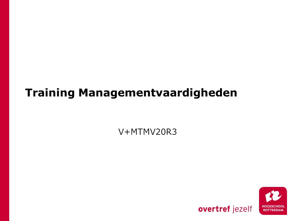 Training Managementvaardigheden V+MTMV20R3