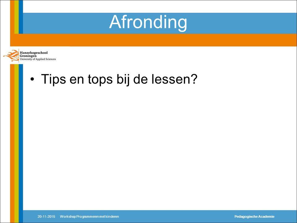 Afronding Tips en tops bij de lessen.